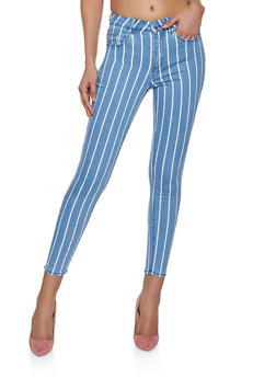 Almost Famous Striped Skinny Jeans - 1074015993077