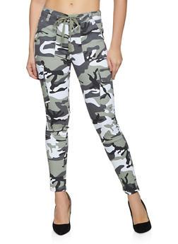 Camo Drawstring Waist Skinny Pants - 1074015993722