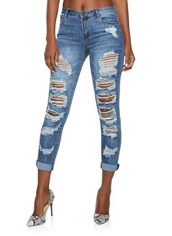 Almost Famous Destroyed Skinny Jeans - 1074015994388