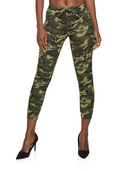 Almost Famous Green Camo Cargo Joggers - 1074015995454