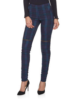 Plaid Ruched Moto Jeggings - 1074056571541