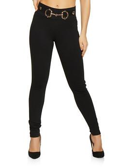 Metallic Waist Detail Pants - Black - Size L - 1074056574064