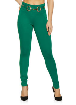 383af19b8e Metallic Waist Detail Pants - 1074056574064