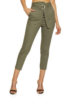 High Waisted Belted Pants - 1074056574546