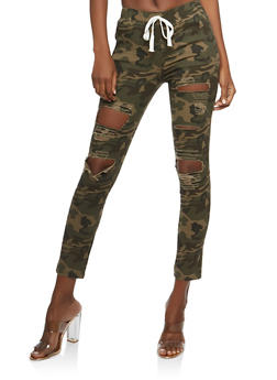 Destroyed Camo Pull On Jeggings - 1074062701570