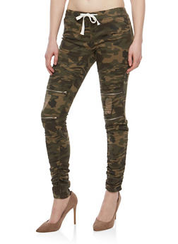 Ruched Camo Frayed Jeggings - 1074062701572