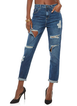 Cello High Waisted Ripped Jeans - DARK WASH - 1074063151556