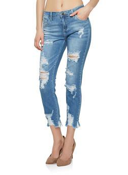 Cello Light Wash Destroyed Hem Skinny Jeans - 1074063154023