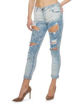 Cello Ripped Acid Wash Cuffed Jeans - 1074063154112