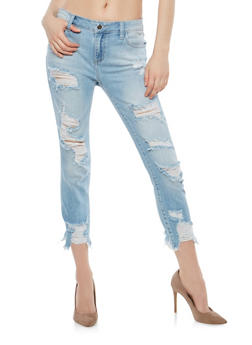 Cello Destroyed Raw Hem Skinny Jeans - 1074063155242