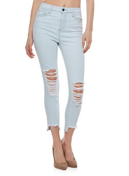 Cello Frayed Hem Skinny Jeans - 1074063155331