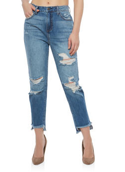 Cello Destroyed Whisker Wash Skinny Jeans - 1074063155591