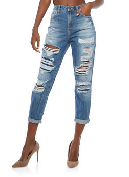 Cello High Waisted Boyfriend Jeans - 1074063155658