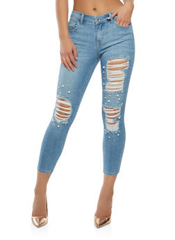 Cello Faux Pearl Studded Cropped Jeans - 1074063157597