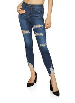 Cello Frayed Hem Dark Wash Jeans - 1074063157677