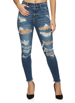 Cello Destroyed Front Skinny Jeans - 1074063157701