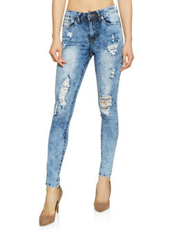 VIP Distressed Acid Wash Skinny Jeans - Blue - Size 10 - 1074065300818