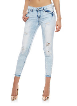 VIP Faux Pearl Embellished Skinny Jeans - 1074065300832
