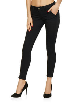 Rolled Cuff Solid Twill Pants | Black - 1074065301048