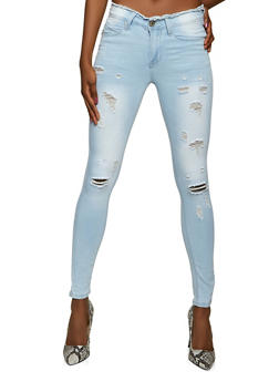 VIP Distressed Light Wash Skinny Jeans - 1074065303691