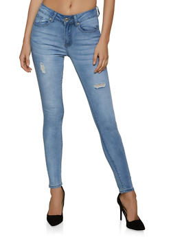 VIP Frayed Whisker Wash Skinny Jeans - 1074065303693