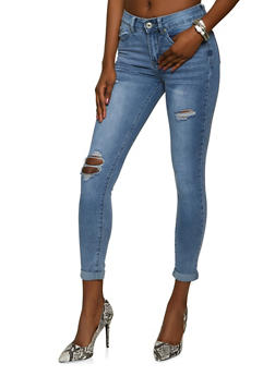 VIP Distressed Ripped Knee Skinny Jeans - 1074065303700