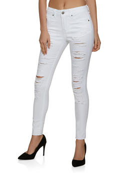 VIP White Destruction Skinny Jeans - 1074065305170