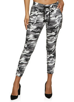 Black and White Camo Cargo Joggers - 1074065307618