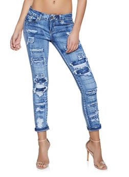 VIP Patch and Repair Roll Cuff Jeans - 1074065307799