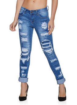 VIP Patch and Repair Frayed Jeans - 1074065307991