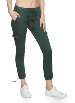 Twill Solid Cargo Joggers - 1074065308011