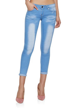 VIP Cropped Roll Cuff Skinny Jeans | Light Wash - 1074065308499