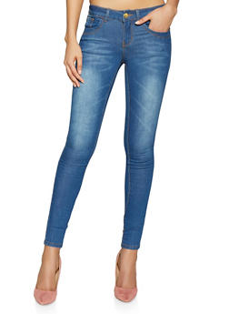 VIP Push Up Skinny Jeans | Blue Whisker Wash - Blue - Size 4 - 1074065308513