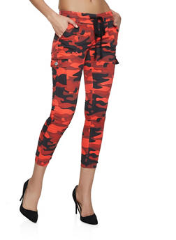 Camo Cargo Joggers | Red - 1074065308888