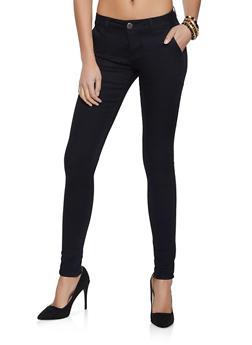 Black Twill Skinny Pants - 1074065309484