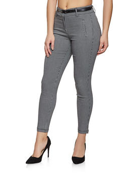 Belted Stretch Jacquard Pants - 1074068190333