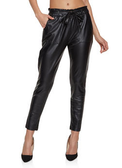 Faux Leather Belted Trousers - 1074068193015
