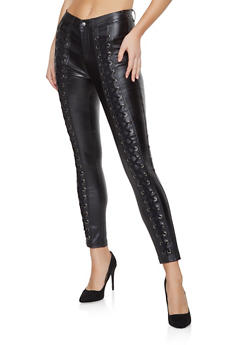 Shinestar Lace Up Coated Jeans - 1074068193017
