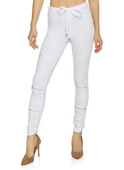 Ruched Moto Jeggings - 1074068193097