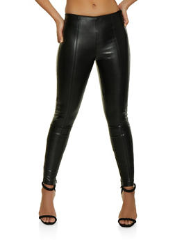 Pull On Faux Leather Pants - 1074068193101