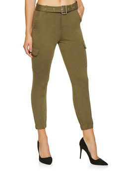 Belted Ponte Cargo Pants - 1074068193128