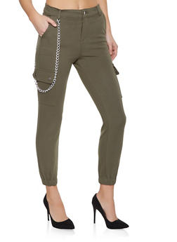 Chain Detail Ponte Cargo Joggers - 1074068193131