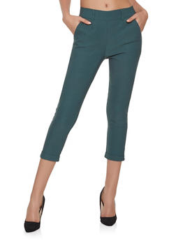 Cropped Stretch Dress Pants - 1074068193173