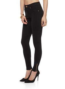 Ankle Zipper Detail Jeggings - 1074068193712