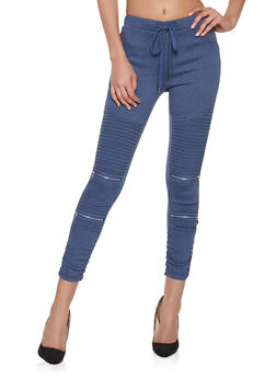 Denim Knit Moto Jeggings - 1074068193890