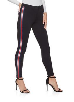 Striped Tape Detail Jeggings - 1074068197093