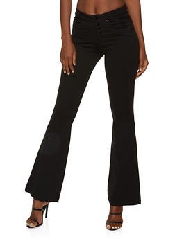 5 Button Flared Dress Pants - 1074068197849