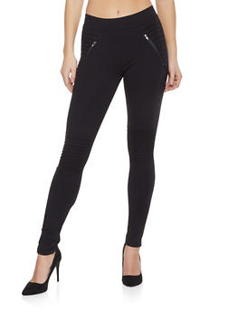 Pull On Ponte Moto Pants - 1074068199841