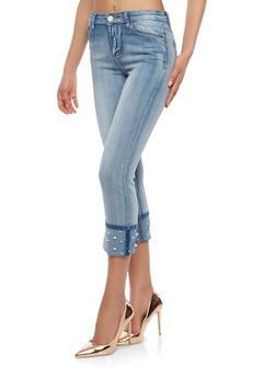 Faux Pearl Cuffed Skinny Jeans - 1074069390445