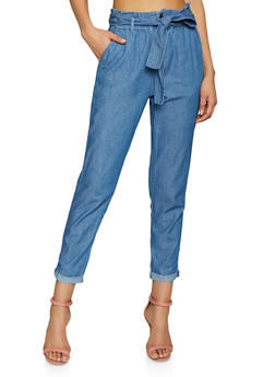Chambray Paper Bag Waist Pants - 1074069397250